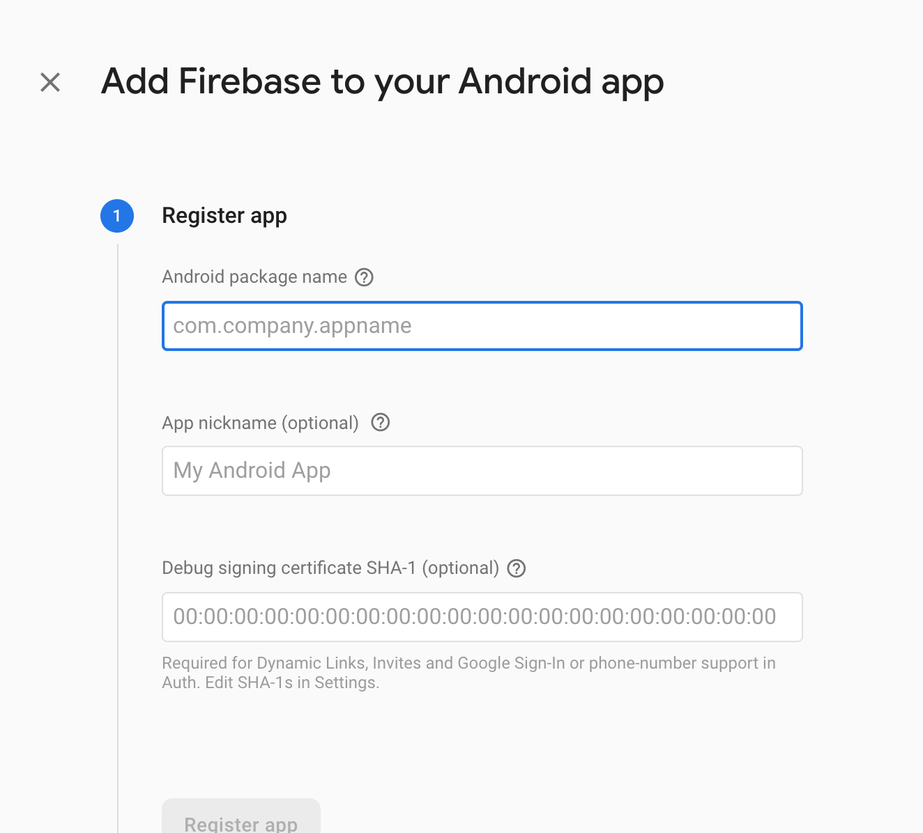 Firebase Register New Android App